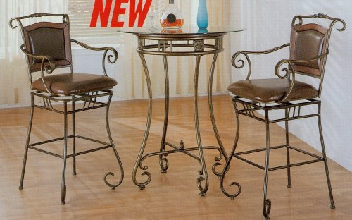 Cheap 3pc Distressed Gold Fnish Metal Round Glass Top Bar Table Stool Set (VF_kitset-100158-100159)