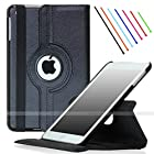 For iPad Air 2 (Released 2014), SAWE - Black PU Leather Case with 360 Degrees Rotating Swivel Stand Folio Case Smart Cover for New iPad Air 2 2nd Gen with Sleep / Wake Up Feature WiFi & 4G LTE