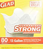 Glad Quick-Tie Tall Kitchen Bags, 13 Gallon , 80 bags
