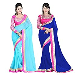 Bollywood Designer Original Women's Skyblue & Blue Chiffon Saree With Blouse