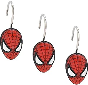 Spiderman shower curtain hooks set of 12 for Spiderman bathroom ideas