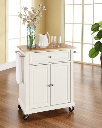 Cheap price crosley furniture natural wood top portable kitchen cart island in white finish - Cheap portable kitchen island ...