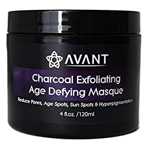Activated Bamboo Charcoal Exfoliating Face Mask for Women and Men | Good For Acne, Minimizing Pores, Sun/Age Spots, Hyperpigmentation | USA Organic and Natural, No Chemicals | Large 4floz jar