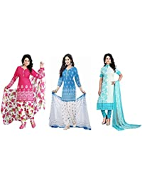 Pack Of 3 Combo Dresses In Low Price Cotton Fabric New Designed Fancy & Regular Wear Salwar Suit For Girl In Low...