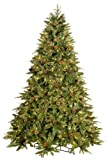 GKI/Bethlehem Lighting 7-1/2-Foot PE/PVC Christmas Tree with Clear Mini Lights, Full Green River Spruce