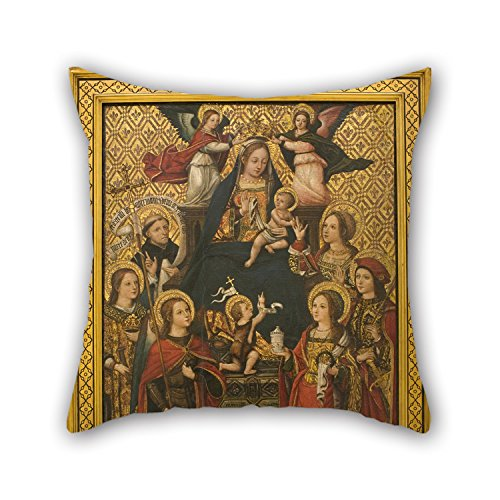 The Oil Painting Vicent Macip - Virgin And Child, Saints And Angels Cushion Covers Of ,16 X 16 Inches /
