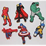 Avengers Iron Man Hulk Captain Wolverine Thor Shoe Charms Set of 6, Shoes, Crafts, Cake Toppers * 92 *