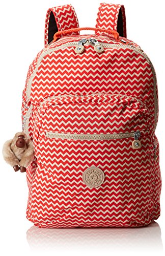 Kipling Seoul Printed Large Backpack With Laptop Protection, Chevron Red, One Size