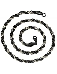 YoFashion Mens Stainless Steel Black Silver Rope Chain 21""