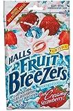 Halls Breezers Throat Drops, Pectin, Creamy Strawberry, 25 drops