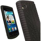 igadgitz Silikon Schutzhülle Hülle Tasche Etui Case Skin in Schwarz mit Reifenprofil design für Samsung Wave 2 S8530 Smartphone Handy