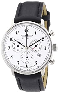 Zeppelin Men's Quartz Watch with White Dial Analogue Display and Black Leather Strap 70861