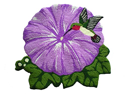 YOYOMALL Personalized Area Rugs,Hand Embroidery Bird and Flower Purple Floor Mats,High Quality Rugs for Bedroom,Bird and Flower Handmade Area Rugs Doormat indoor.