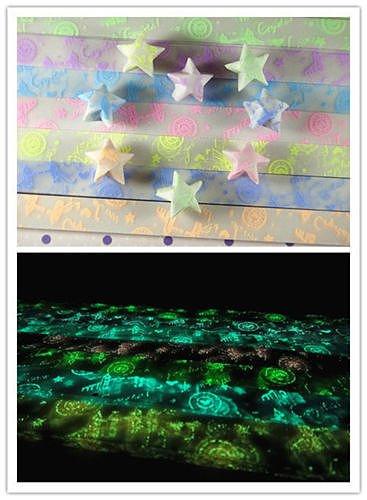 "Set ""bridge and disc "" letter Glow in Dark Lucky Star Origami Folding Plastic Strip Paper Heart Bowknot Design set12"
