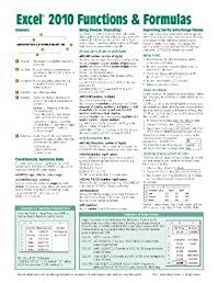 Microsoft Excel 2010 Functions & Formulas Quick Reference Guide (4-page Cheat Sheet focusing on examples and context for intermediate-to-advanced functions and formulas)