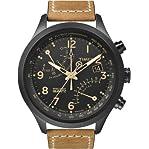 Timex Men's T2N700 Intelligent Quartz SL Series Fly-Back Chronograph Brown Leather Strap Watch