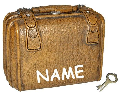 Spardose Koffer - mit Schlüssel + Namen - stabile Sparbüchse für die Reisekasse aus Kunstharz - Reisen Geld Sparschwein Reisekoffer Urlaubskasse Kofferkasse