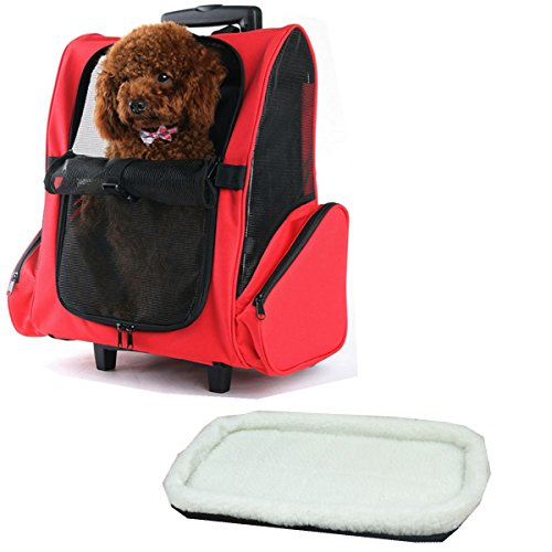 JANMO Pet Carrier Backpack Airline Approved for Medium Big and Large Dog with Wheels And Soft Mat (Red)