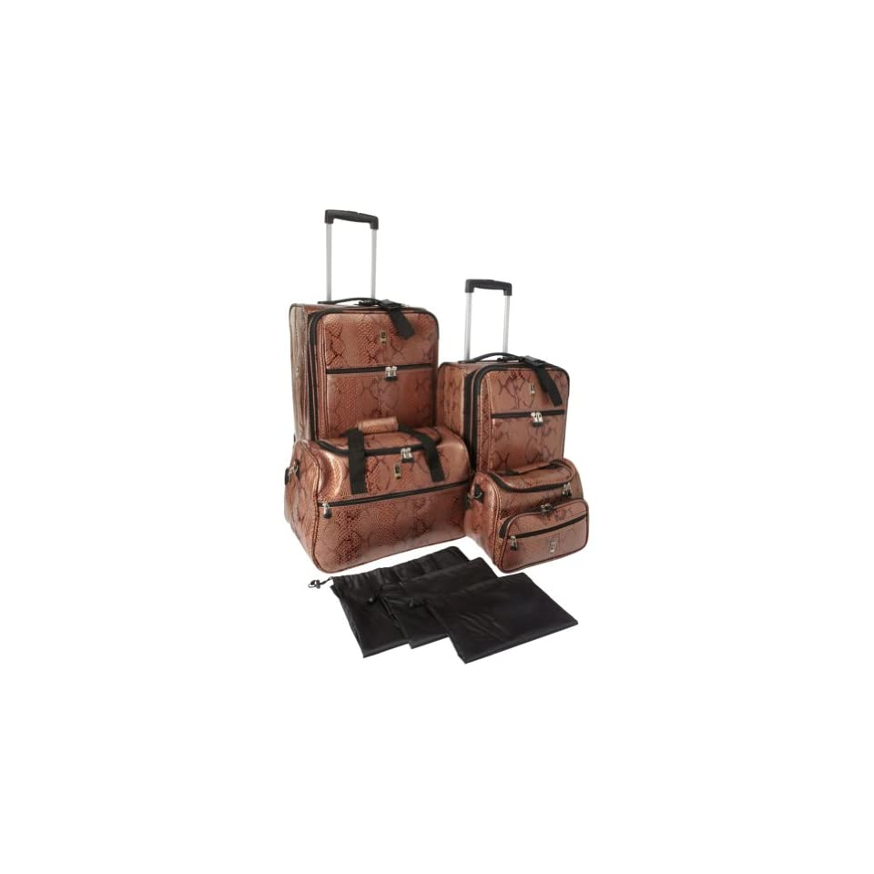 Travel Concepts Snakeskin 7 Piece Luggage Set CARAMEL