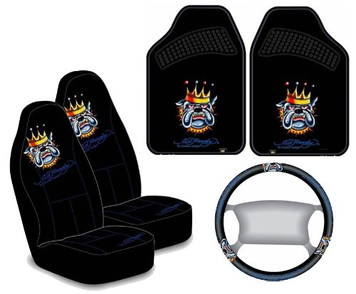 Ed Hardy Bulldog Seat Covers Floor Mats Steering Wheel