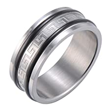 buy Infinity Style Mens Ring Wedding Band With Greek Symbols Engraved In Silver Stainless Steel 8Mm (11)
