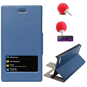 DMG Sview Call Case Vip for BlackBerry Z3 (Blue) + 3.5mm Audio Dock Sponge Speaker