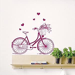 Wall decals sport bicycle bike heart flower for Bicycle decorations home