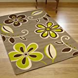 Large Modern Contemporary Nissa Rug Stone Green Natural Brown Rug