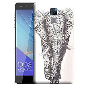 Theskinmantra Black and white elephant back cover for Huawei Honor 7
