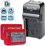 Baxxtar RAZER 600 II Ladegerät 5 in 1 + 2x Baxxtar PRO ENERGY Akku für Sony NP-FW50 (echte 1080mAh) passend zu Sony ILCE QX1 Alpha 5000 5100 6000 Alpha 7 CyberShot DSC RX10 -- Sony NEX-6 NEX-F3 NEX-7 NEX-7B NEX-7C NEX-7K NEX-3 NEX-3N NEX-C3 Nex-5 NEX-5N NEX-5K NEX-5R SLT A55 A33 A35 A37 A3000 usw -- NEUHEIT mit Micro-USB Eingang und USB-Ausgang, zum gleichzeitigen Laden eines Drittgerätes (GoPro, iPhone, Tablet, Smartphone..usw.) !!
