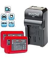 Baxxtar RAZER 600 II chargeur 5 en 1 + 2x Baxxtar Batterie pour Sony NP-FW50 (1080mAh) -- NOUVEAU avec entrée micro USB plus Sortie USB pour charger simultanément un troisième dispositif (GoPro, iPhone, tablette, smartphone, etc ..) pour -- Sony ILCE QX1 Alpha 5000 5100 6000 Alpha 7 CyberShot DSC RX10 -- Sony NEX-6 NEX-F3 NEX-7 NEX-7B NEX-7C NEX-7K NEX-3 NEX-3N NEX-C3 Nex-5 NEX-5N NEX-5K NEX-5R SLT A55 A33 A35 A37 A3000