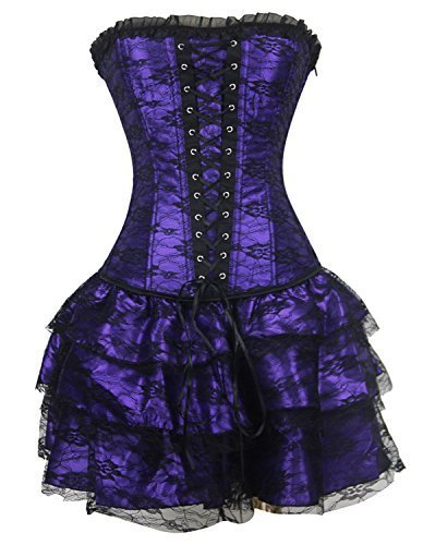 Burvogue Women's Gothic Boned Lace Corsets and Bustiers Dress with Skirt (Medium, Purple)