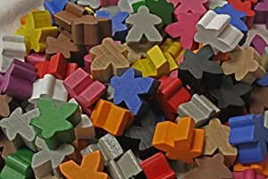 100 Assorted Mixed Meeples (16mm) - All 12 colors!
