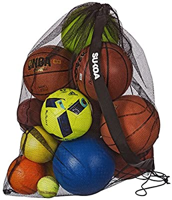 Sukoa Sports Mesh Ball Bag - Extra Large Heavy Duty Jumbo Size with Shoulder Strap - For Soccer, Basketball, Volleyball, Football and the Beach