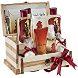 French Vanilla Bath Gift Set in 190ml shower gel,190ml bubble bath, 120g bath salts, 100ml body spray,90g body lotion, 2 Bath fizzer