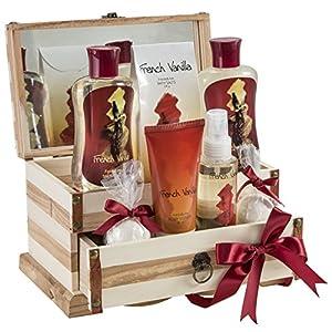 French Vanilla Bath Gift Set in 190ml shower gel,190ml bubble bath, 120g bath salts, 100ml body spray,90g body lotion, 2 Bath fizzer