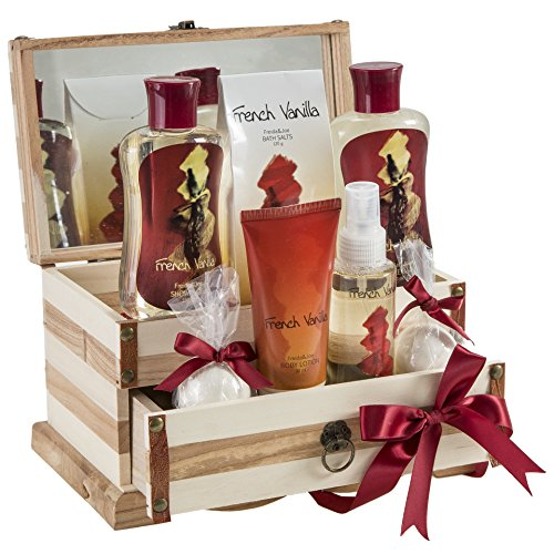 French Vanilla Bath Gift Set in 190ml shower gel,190ml bubble bath, 120g bath salts, 100ml body spray,90g body lotion, 2 Bath fizzer Bath Beauty Set