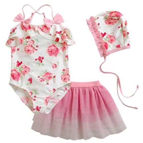 Deer Mum Kid Girl Floral Elegant Ballet Skirt Design 3Pcs/Swimsuits (11) front-535006