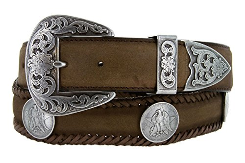Texas Centennial Half Dollar Eagle Star Coin Concho Western Leather Scalloped Belt Brown 34