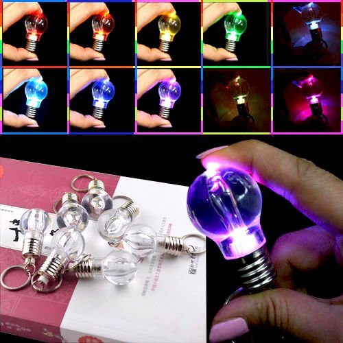 Colorfu Color Automatical Change LED Key Chain Ring Light Bulb Lamp Gadget KY ;TM79F-32M UGBA303763 (Lightbulb Key Chain compare prices)