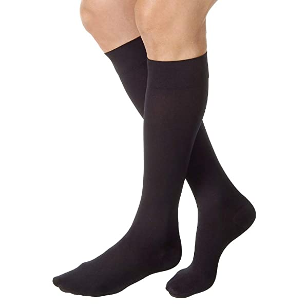 JOBST Relief Knee High Closed Toe Compression Stockings, High Quality, Unisex, Extra Firm Legware for Tired and Heavy Legs, Compression Class- 20-30 (Color: Black, Tamaño: Medium)