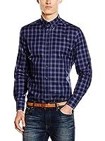 Hackett London Camisa Hombre Check (Azul Oscuro)