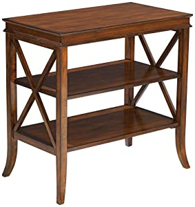 cherry finish 2 shelf narrow table end tables