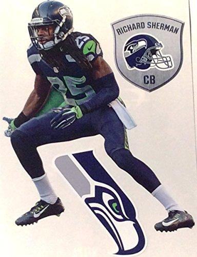 Richard-Sherman-Mini-FATHEAD-Seattle-Seahawks-Logo-Bonus-Shield-Logo-Official-NFL-Vinyl-Wall-Graphics-7-INCH-TOTAL-OF-3-FATHEAD-Graphics
