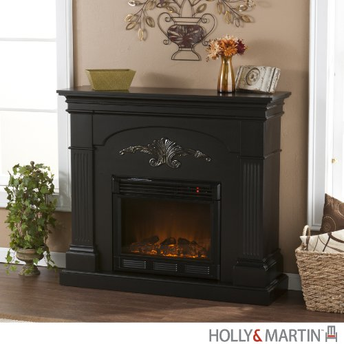 Salerno Black Electric Fireplace (Black) (40.25