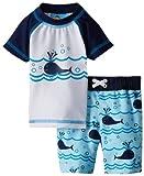 Bebé bollos Baby-Boys recién nacidos Rashguard y Swimtrunk Lazy de ballenas, azul, 9meses Color: Azul Tamaño: 9Meses, infantil, bebé, niño