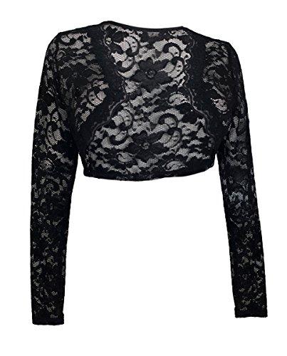 eVogues Plus Size Black Long Sleeve Lace Cropped Bolero Shrug - 5X