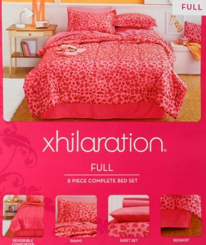 Xhiliration Leopard Pink Comforter 8 Pc Set Full front-513518