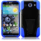Generic Hybrid Double Layer Fusion Cover Case with Kickstand for LG Optimus G Pro E980 - Retail Packaging - Black/Blue