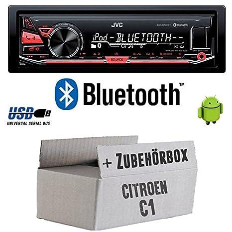 Citroen C1 - JVC KD-X330BT - Bluetooth MP3 USB Autoradio - Einbauset